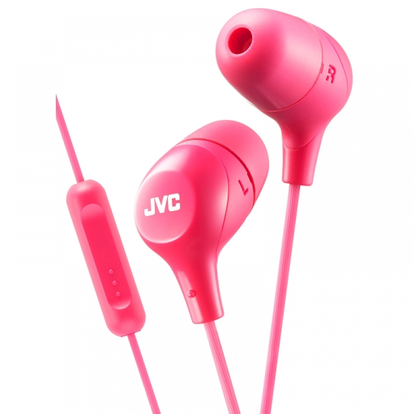 JVC HAFX38MP Marshmallow Custom Fit In-Ear Headphones with Remote & Mic Pink - Image 1