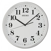 Seiko QXA697S Quiet Sweep Second Hand Wall Clock Silver Case with White Face