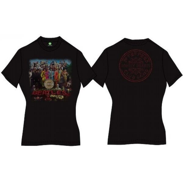 The Beatles Sgt Pepper with Back Printing Ladies Small T-Shirt - Black