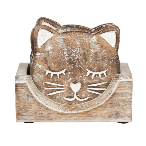 Sass & Belle Wooden Carved Cat Coaster (Set of 6)