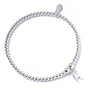 Initial H Charm with Sterling Silver Ball Bead Bracelet