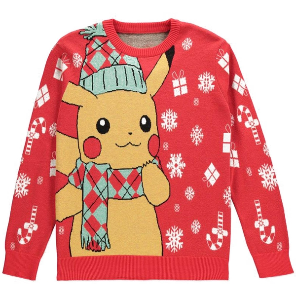POKEMON - Pikachu with All-Over Xmas Design Mens X-Large Sweatshirt - Red