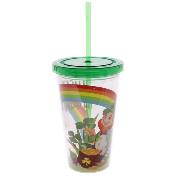 Funky Leprechaun Double Walled Cup with Lid and Straw