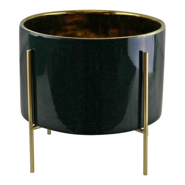 Green Large Ceramic Gold Lined Planter With Stand