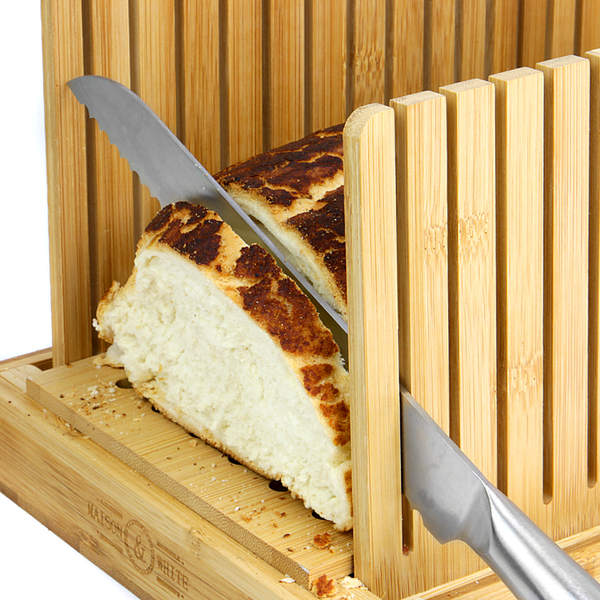 Bamboo Bread Slicer With Crumb Catcher Wood Compact ...
