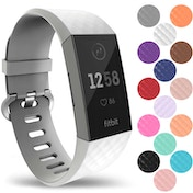 YouSave Silicone Strap - Large - White compatible with Fitbit Charge 3