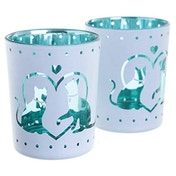 Cat Design Glass Set of 2 Candle Holder