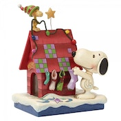 Peanuts Prepping For Santa Snoopy decorating with Woodstock