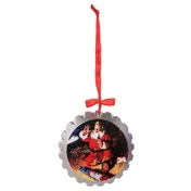 Coca Cola Wooden Bottle Top Santa & Train Tree Decoration