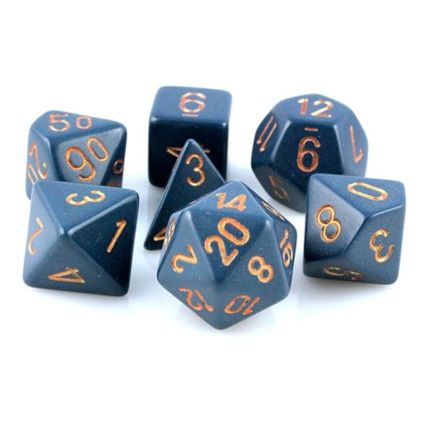 Chessex Opaque Poly 7 Dice Set: Dusty Blue/Copper