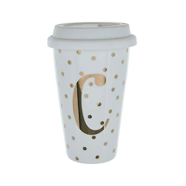 Initials C Double Walled Travel Mug With Silicone Lid - Gold Spots