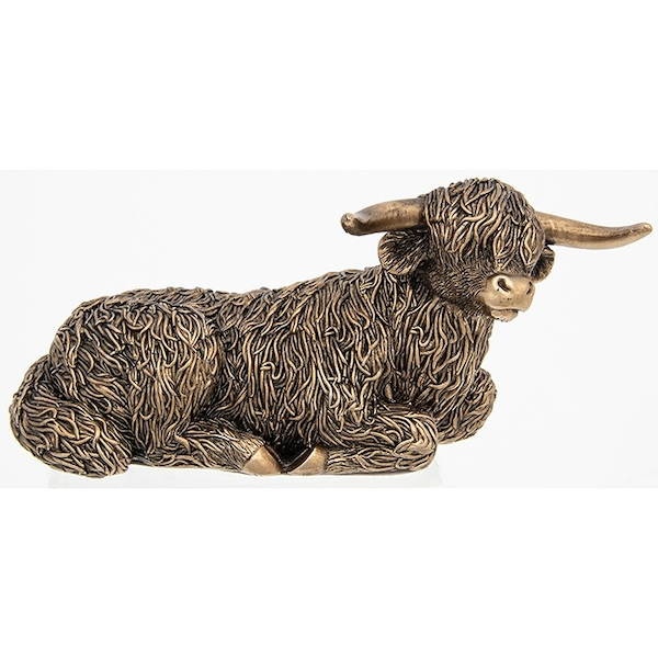 Bronze Highland Coo Lying Large Ornament
