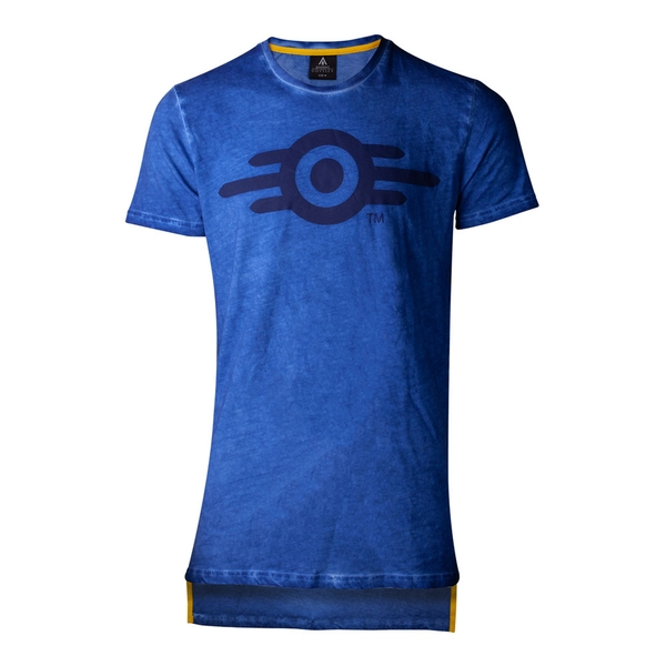 Fallout - Vault-Tec Logo Oil Washed Men's Small T-Shirt - Blue