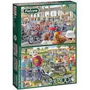 Falcon de luxe The Motorcycle Show 2-Pack Jigsaw Puzzle - 500 Pieces