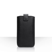 Caseflex Leather-Effect Auto Return Pull Tab Pouch (S) - Black