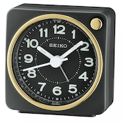 Seiko QHE144J Analogue Bedside Beep Alarm Clock with Light Black