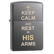 Zippo Keep Calm Design Black Ice Finish Windproof Lighter