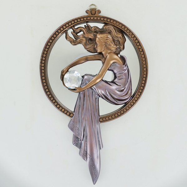 Lady Holding Ball Cold Cast Bronze Mirror