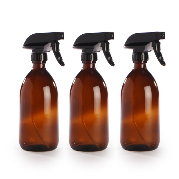 Amber Glass Spray Bottles - Set of 3 | M&W