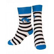 Sega Sonic the Hedgehog Adult Male Striped Sonic Face Crew Socks 43/46 (Blue/Black)