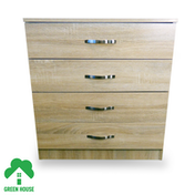 Wooden Chest of Drawers, Bedside Cabinet Bedroom Furniture Green House 4 Drawer Chest Oak