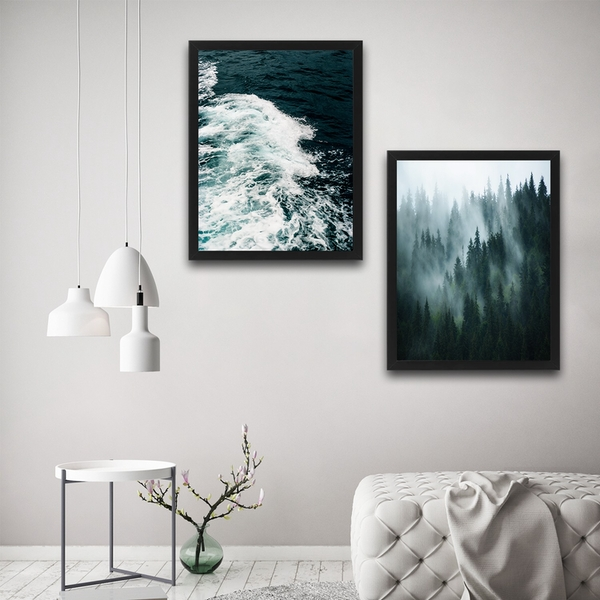 Wave Forest Set Multicolor Decorative Framed Painting (2 Pieces)