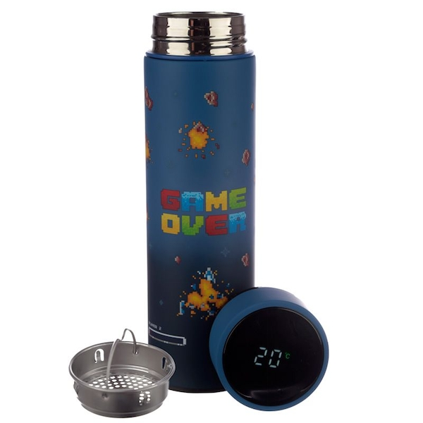 Game Over Reusable Stainless Steel Hot & Cold Thermal Insulated Drinks Bottle with Digital Thermometer