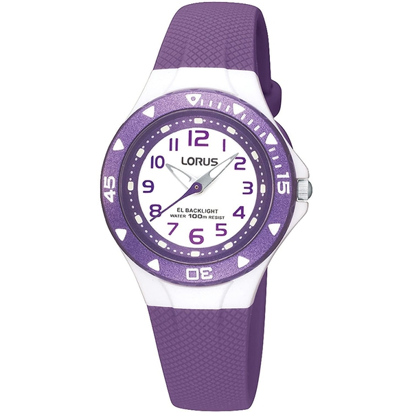 Chidrens Analogue Watch - Purple with White Dial