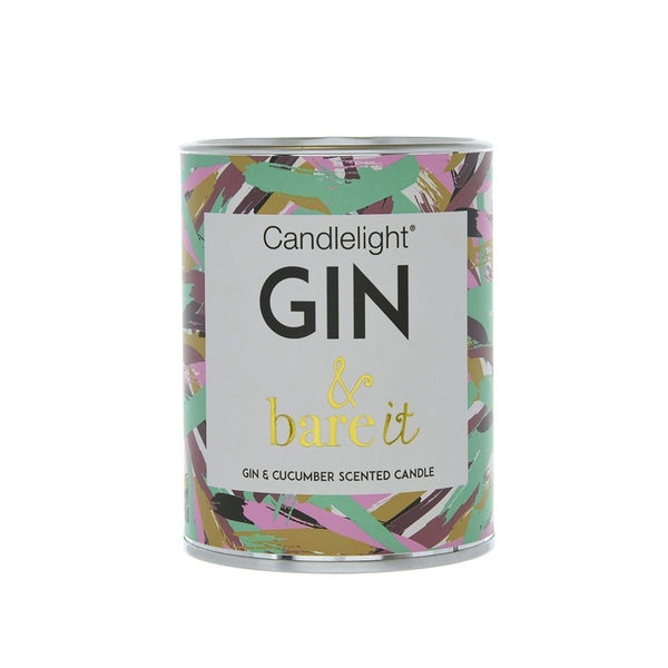 Candlelight Gin & bare it Large Tin Candle with Ring Pull top Gin and Cucumber Scent