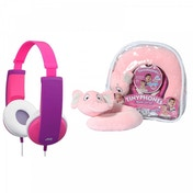 JVC Tinyphones Travel Gift Set Headphones Neck Pillow Backpack & Stickers - Pink