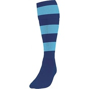 Precision Hooped Football Socks Boys Navy/Sky