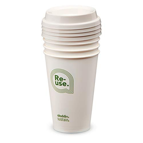 Aladdin Re-Use Sustain Cup & Lid 0.35L (Pack of 4) Re-Use Sustain Graphic