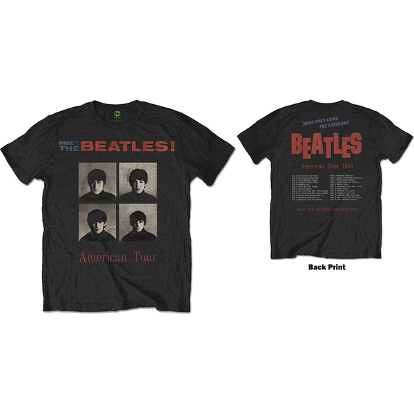 The Beatles - American Tour 1964 Unisex Small T-Shirt - Black