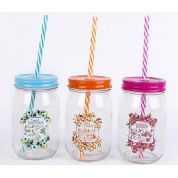 Tropical Cocktail Drinking Jars (One Random Supplied)