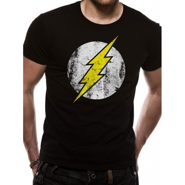 The Flash Distressed Logo Unisex Large T-Shirt - Black