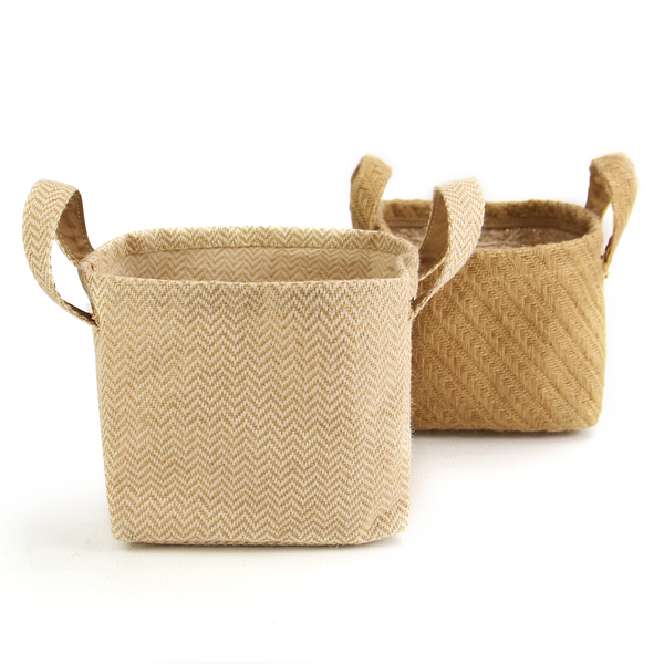 Cotton Jute Storage Baskets - Pack of 2 | M&W - Image 1