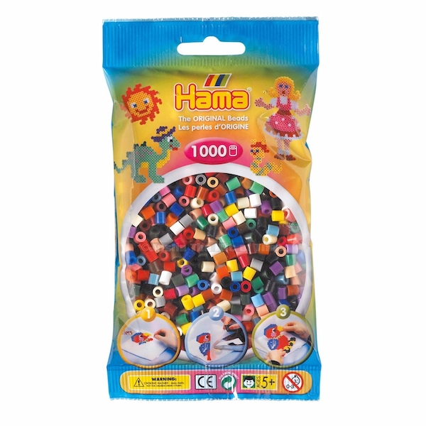 Hama - 1000 Beads in Bag (Bright Solid Mix)