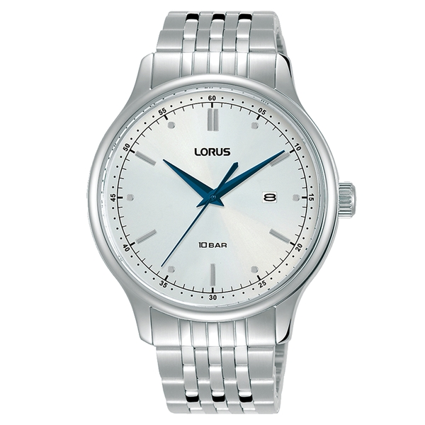 Lorus RH905NX9 Mens Dress White Dial Stainless Steel  Bracelet Watch