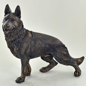 German Shepherd Alsatian Standing Cold Cast Bronze Sculpture 18cm