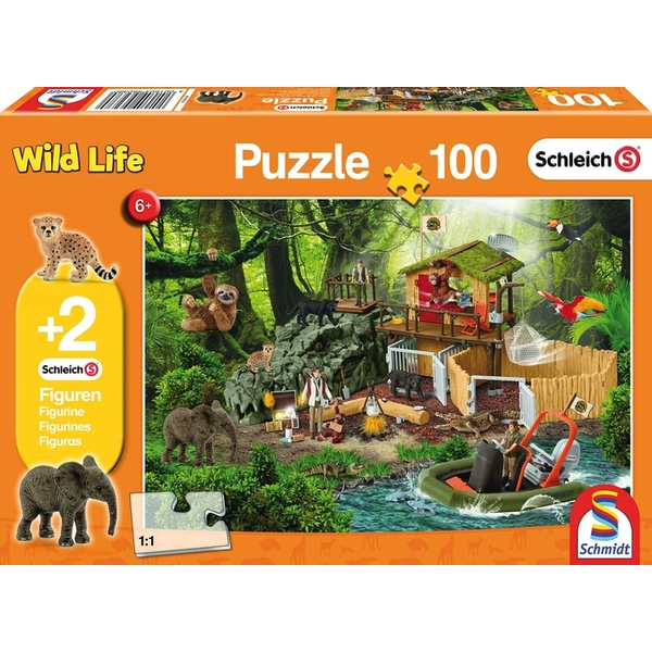 Schleich: Croco Research Station 100 Piece Jigsaw Puzzle + Two Figures