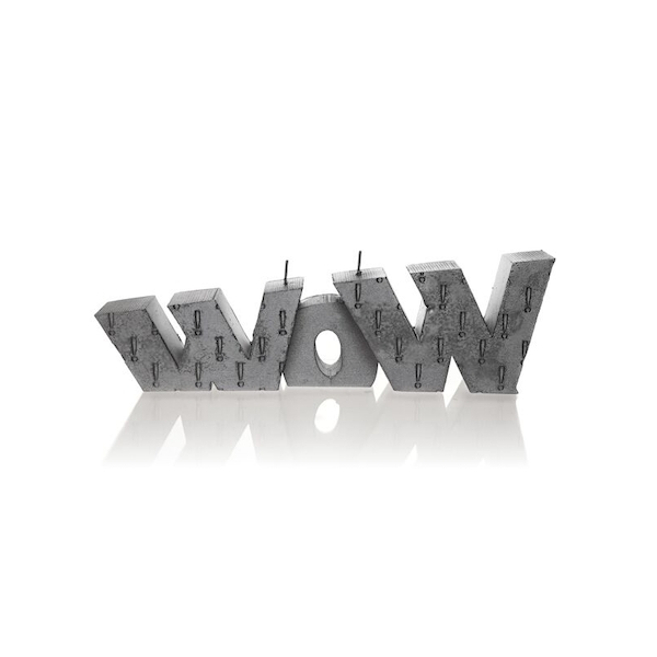 Steel WOW Sign Candle