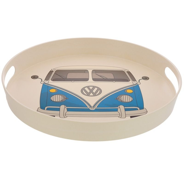Volkswagen VW T1 Camper Bus Blue Bamboo Composite Round Tray