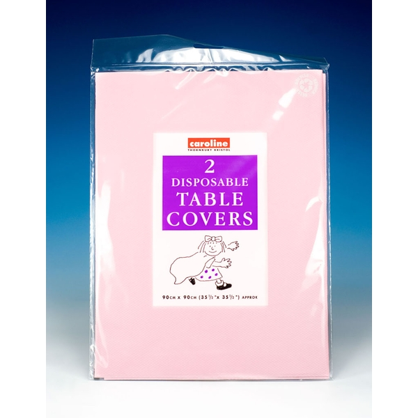 Caroline Square Paper Tablecovers 90cm Pink