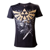 Legend of Zelda - Link with Gold Triforce Crest Men's XX-Large T-Shirt - Black