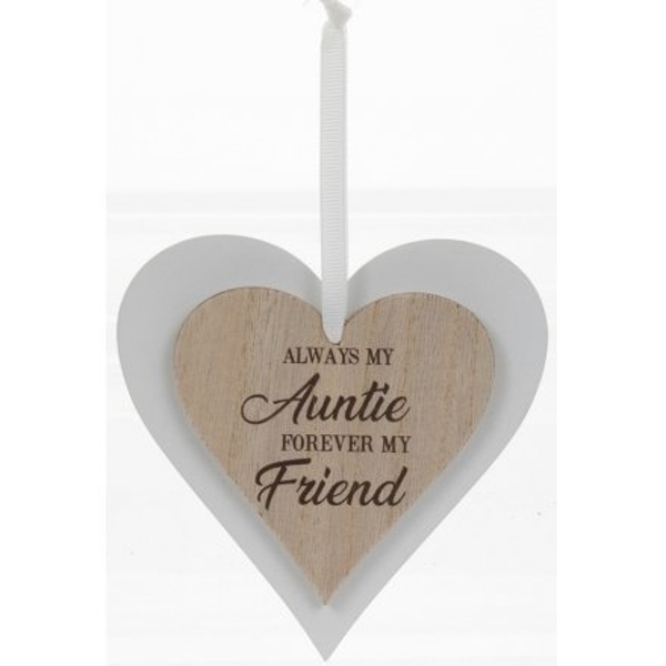 Always My Auntie Sentiments Heart Hanger