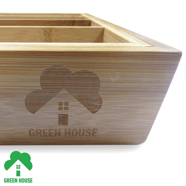 Bamboo Extending Cutlery Drawer Tray With Adjustable Compartments Green House - Image 5