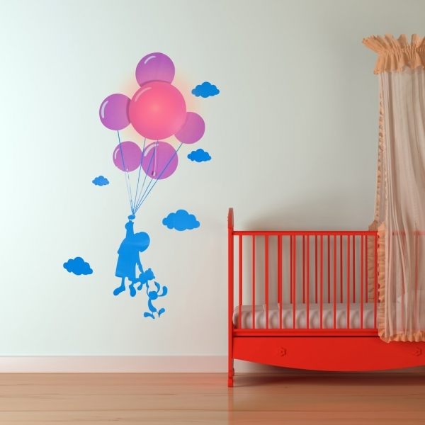 child and balloon night light with wall sticker - ozgameshop