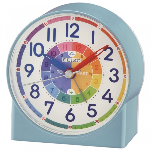 seiko qhe153l childrens time teaching alarm clock blue. Black Bedroom Furniture Sets. Home Design Ideas