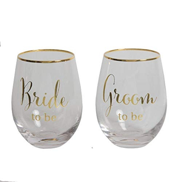Set of 2 Gold Groom/Bride to Be Stemless Wine Glasses