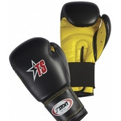 T-Sport PU Boxing Gloves Black/Yellow 10oz